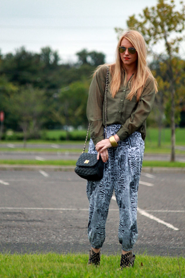 e1946b4edf  vintage printed pants  H M sheer top  American Apparel elastic belt   Jessica Simpson studded heels  Asos purse  Ray Ban aviator sunglasses   misc. bracelet
